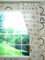 Whitehaven Ivory and Red Butterfly Embroidered Versatile Pleat Sheer Curtain