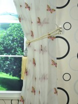 Whitehaven Ivory and Red Butterfly Embroidered Custom Made Sheer Curtain