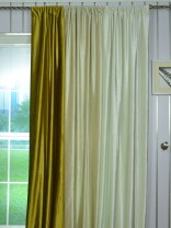 4 Headings Hotham Beige and Yellow Plain Ready Made Velvet Curtains