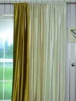 Hotham Beige and Yellow Plain Ready Made Eyelet Blackout Velvet Curtains