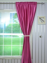 4 Headings Hotham Pink Red and Purple Plain Ready Made Velvet Curtains