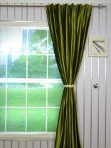 4 Headings Hotham Green and Blue Plain Ready Made Velvet Curtains
