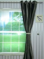 4 Headings Hotham Gray and Black Plain Ready Made Velvet Curtains