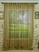 QY7151SKB Laura Striped Tab Top Sheer Curtain