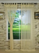 QY7151SMB Laura Rough Solid Tab Top Sheer Curtains