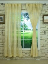 QY7151SNG Laura Big Plaid Polyester Concealed Tab Top Sheer Curtains with Fabric Tieback