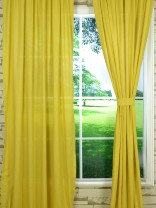 QYK246SC Eos Linen Beige Yellow Solid Custom Made Sheer Curtains