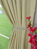 QYK246SB Eos Linen Gray Black Solid Custom Made Sheer Curtains (Color: Eggshell)