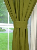 QYK246SD Eos Linen Green Blue Solid Custom Made Sheer Curtains