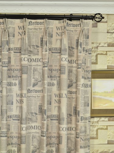 Eos Newspaper Printed Faux Linen Double Pinch Pleat Curtain Heading Style ...