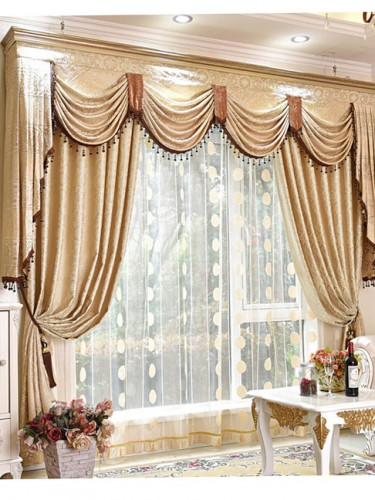 Baltic Jacquard Beige Floral Waterfall And Swag Valance