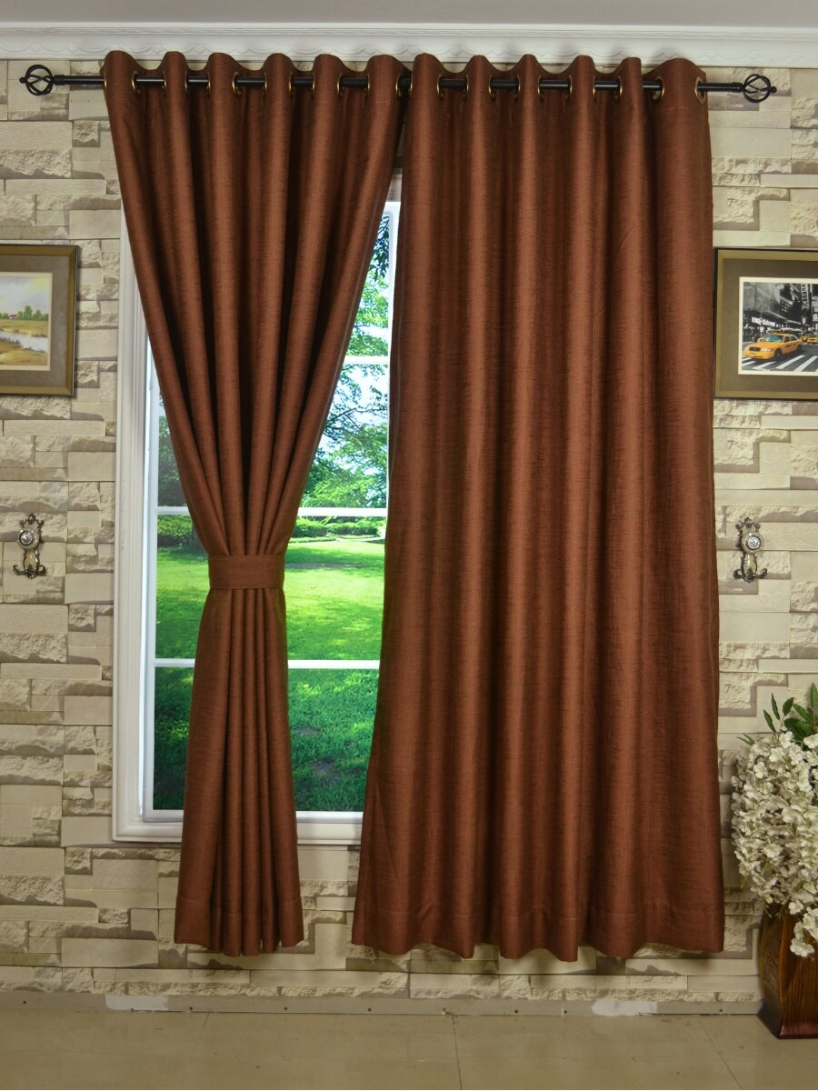 ch0101ad mirage brown color solid faux linen eyelet curtains custom curtains drapes draperies. Black Bedroom Furniture Sets. Home Design Ideas