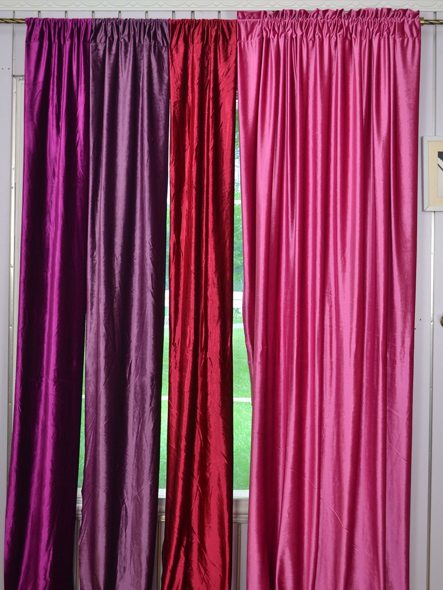 Hotham Pink Red and Purple Plain Ready Made Eyelet Blackout Velvet ...