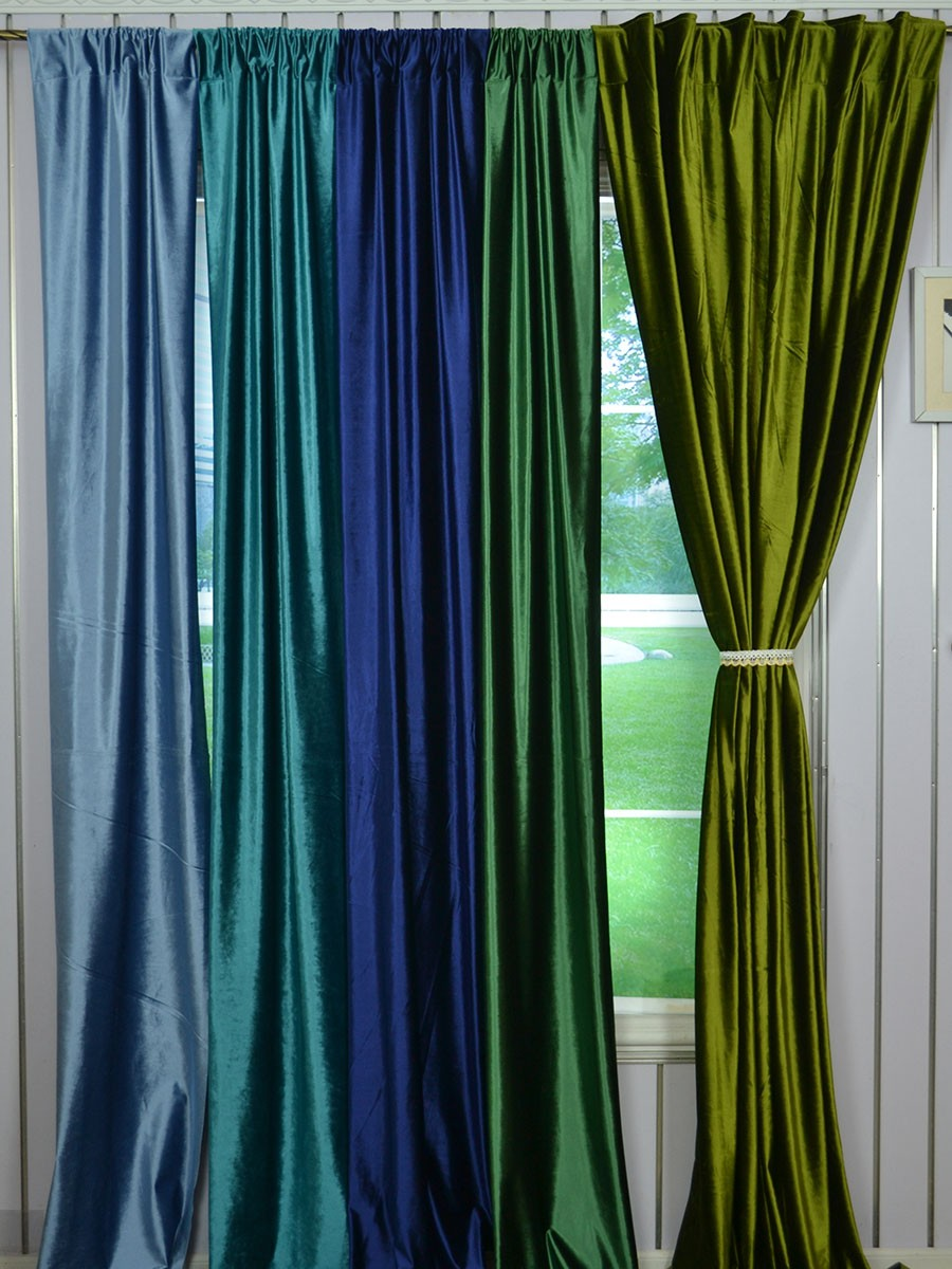 Blue And Green Dining Room: Hotham Green And Blue Plain Custom Made Blackout Velvet