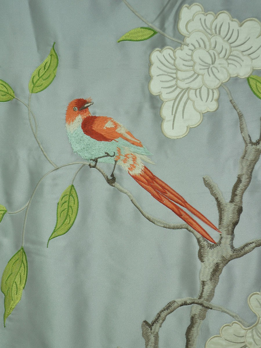 Franklin Gray Embroidered Bird Branch Eyelet Faux Silk