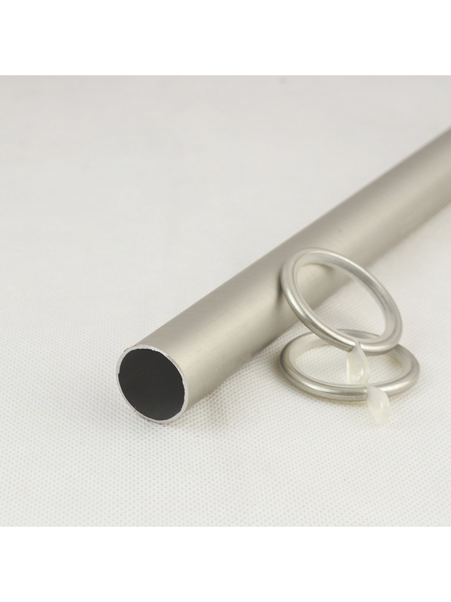 22mm Silver Wrought Iron Double Curtain Rod Set With Tail