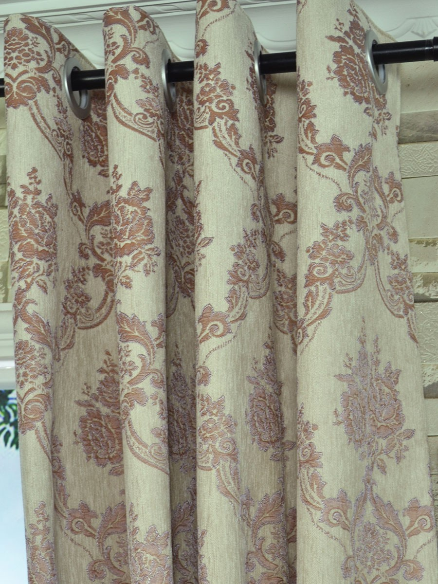 Angel Jacquard Floral Damask Eyelet Chenille Curtain