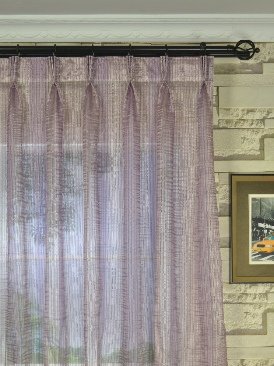 pinch pleat sheer curtains. QY7151SCK Laura Colourful Striped Triple Pinch Pleat Sheer Curtains (Color: Keepsake Lilac) D