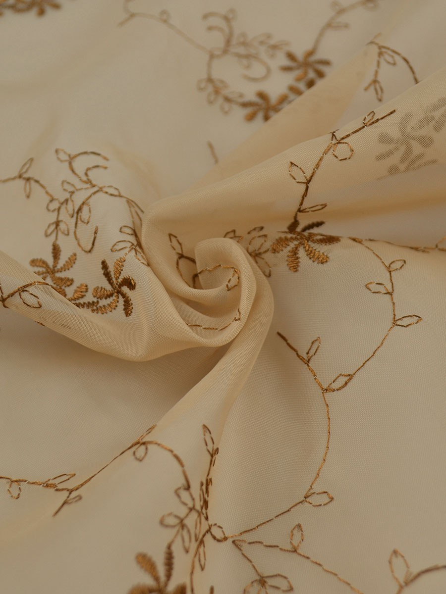 Gingera damask floral embroidered eyelet sheer curtains