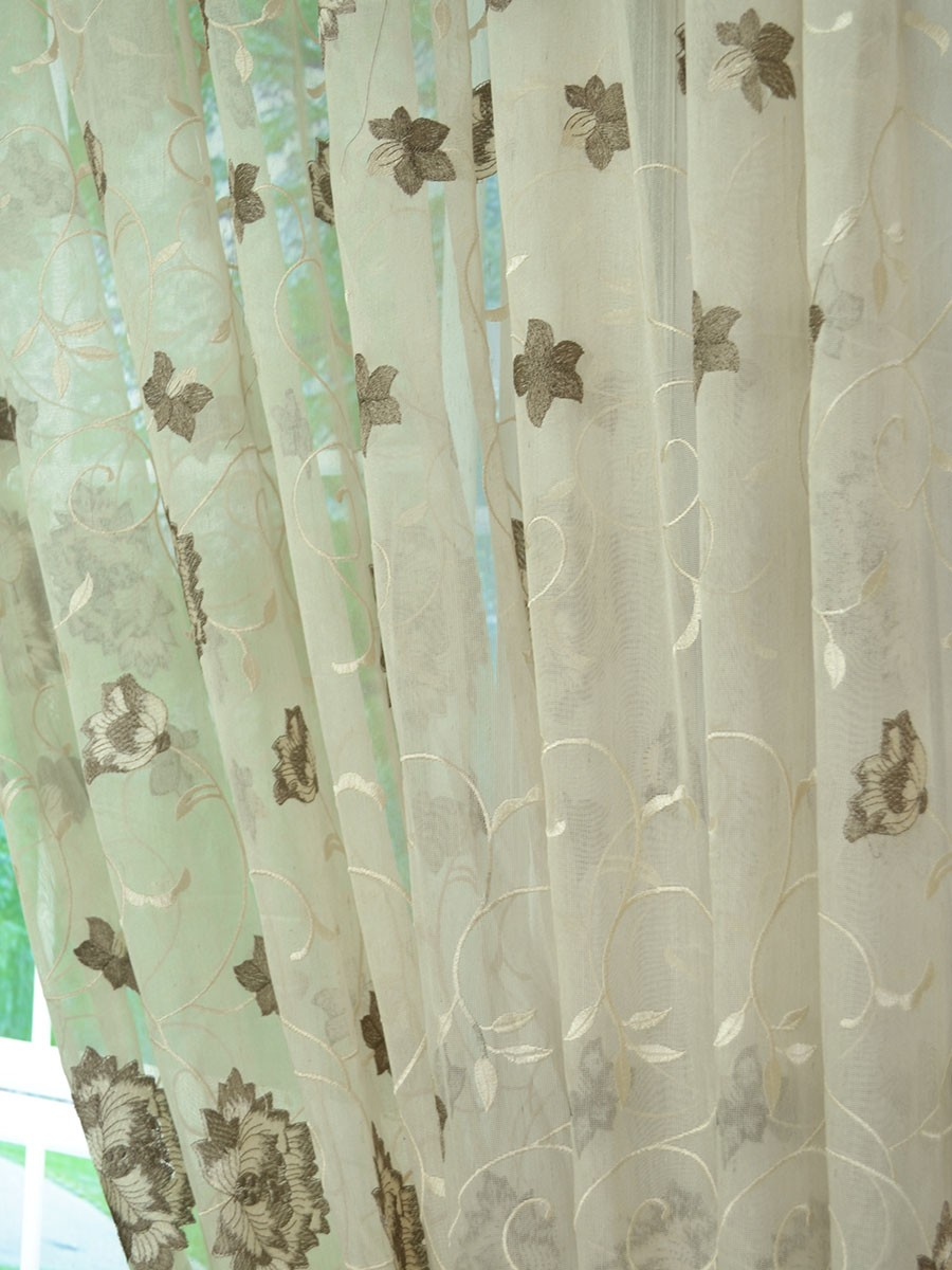 Gingera Flowers Embroidered Eyelet Sheer Curtains Panels
