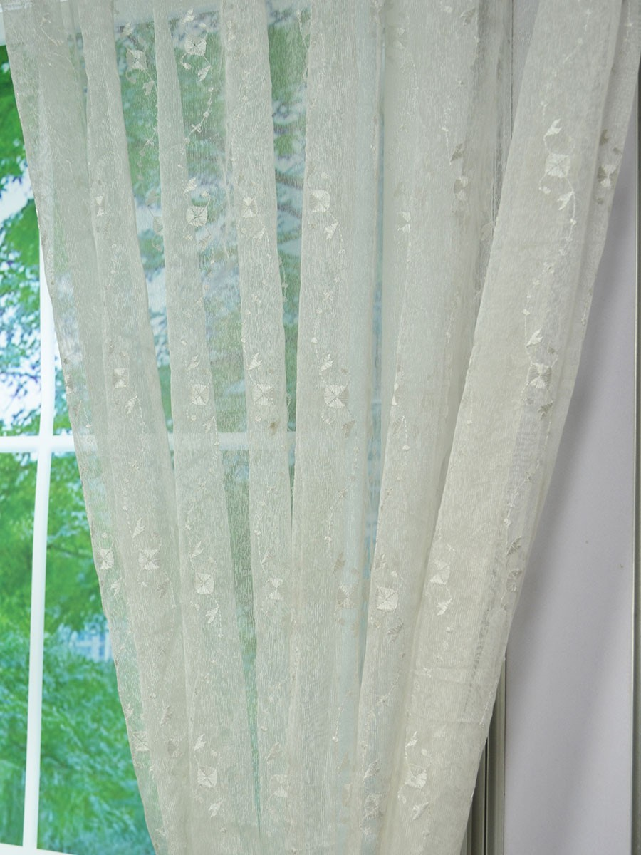 Gingera Daisy Chain Embroidered Custom Made Sheer Curtains