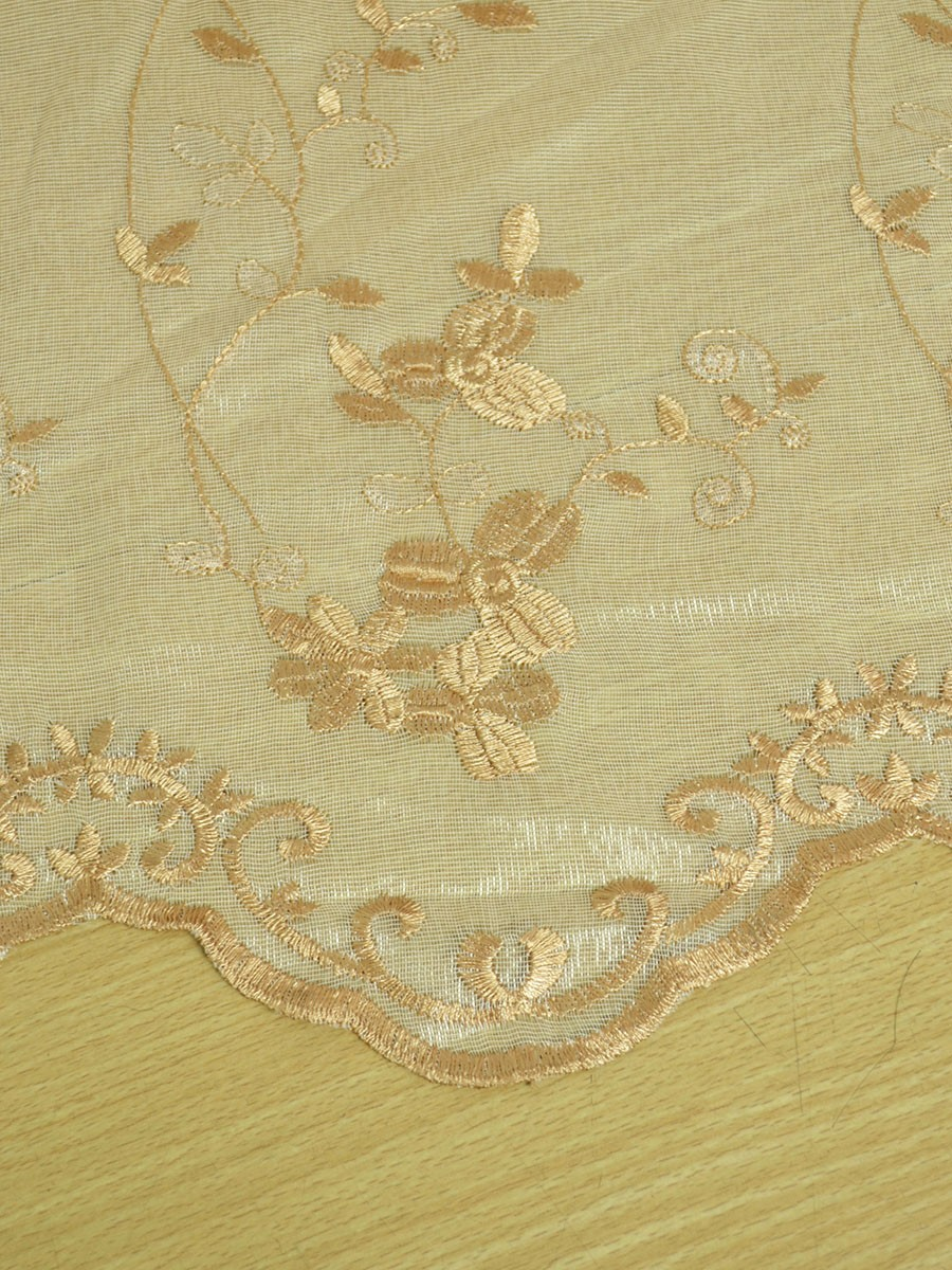 Gingera Vine Leaves Embroidered Custom Made Sheer Curtains