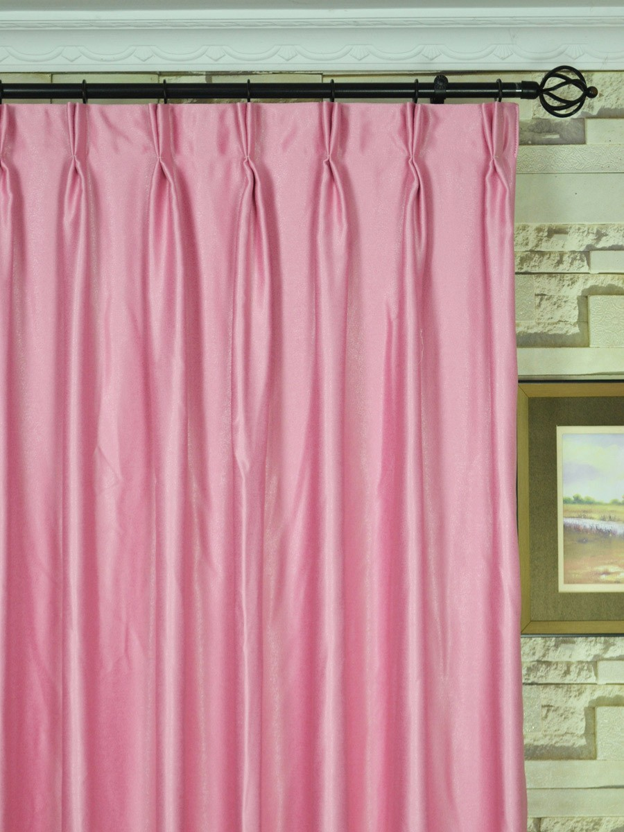 Swan Pink And Red Solid Double Pinch Pleat Ready Made