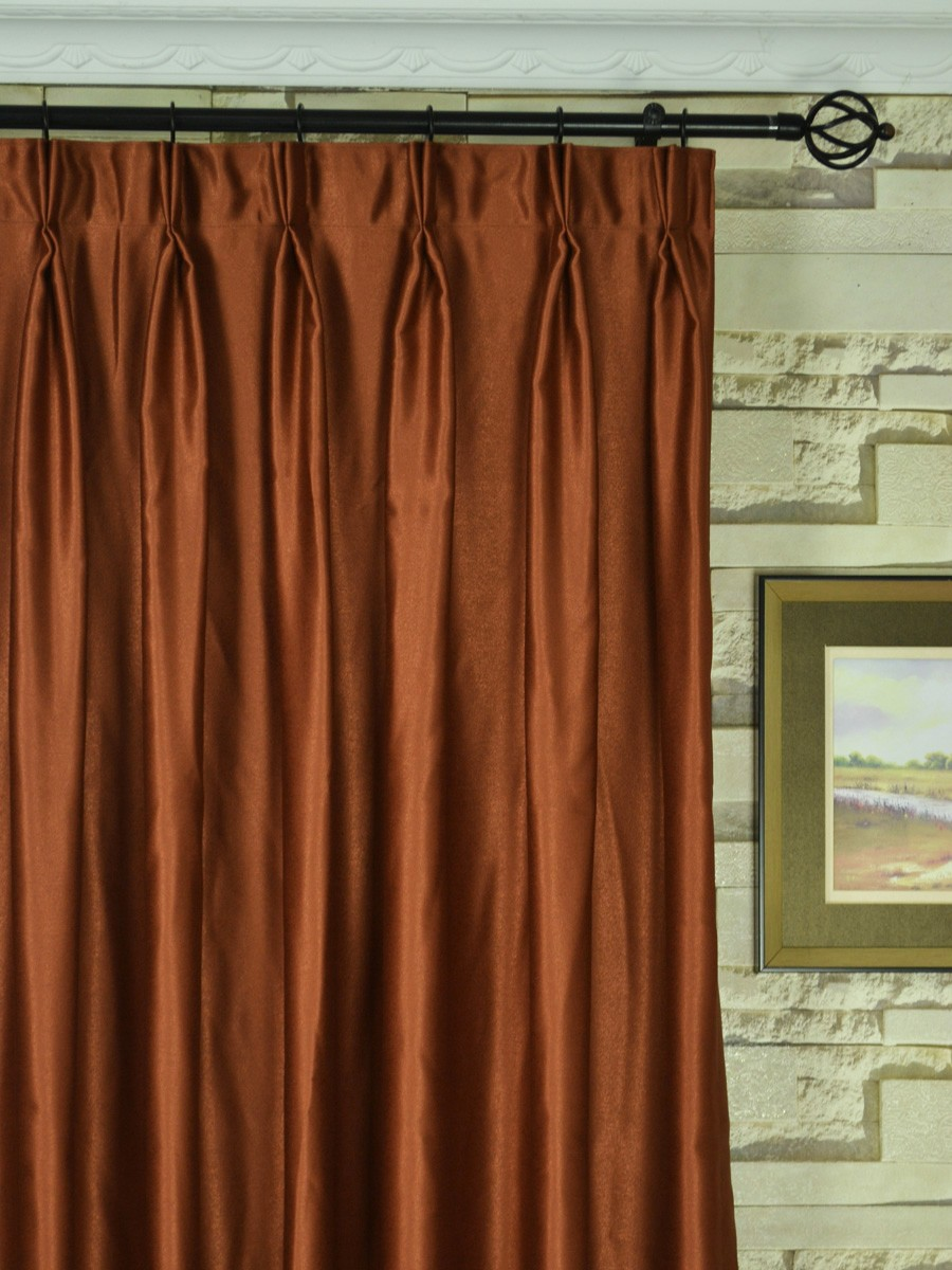 Swan Brown Solid Double Pinch Pleat Ready Made Curtains
