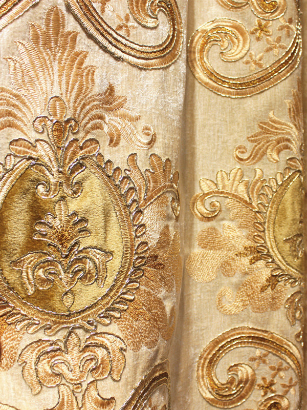 Hebe Regal Floral Damask Velvet Ready Made Curtains ...