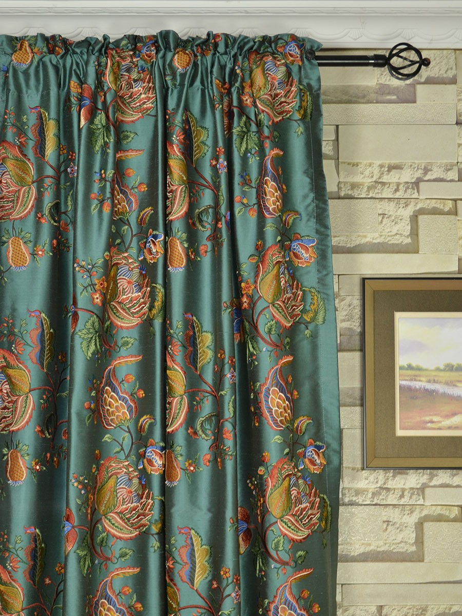 Drapery And Curtain Ideas: Halo Embroidered Multi-color Scenery Dupioni Silk Custom