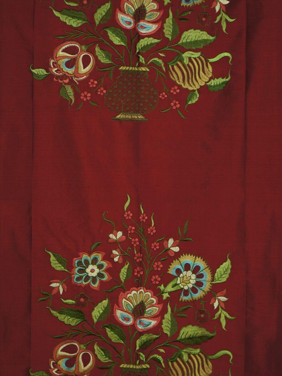 Halo embroidered vase dupioni silk fabric sample custom