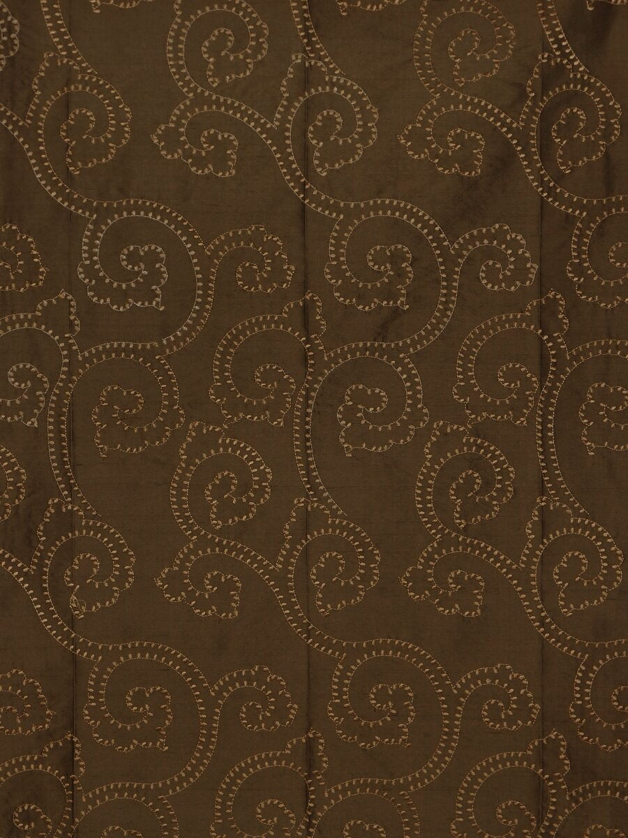 Halo Embroidered Scroll Damask Dupioni Silk Custom Made