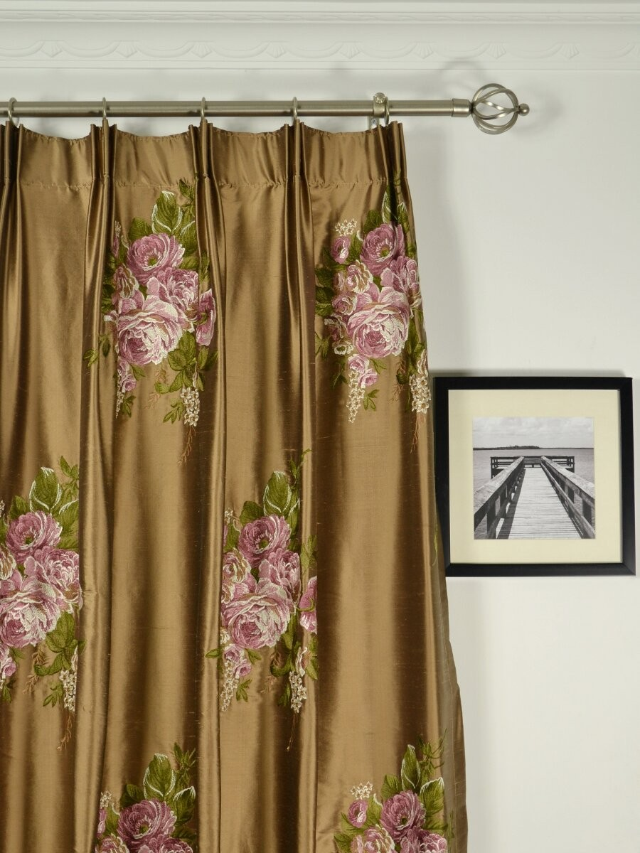 Rainbow Embroidered Camellia Dupioni Custom Made Curtains