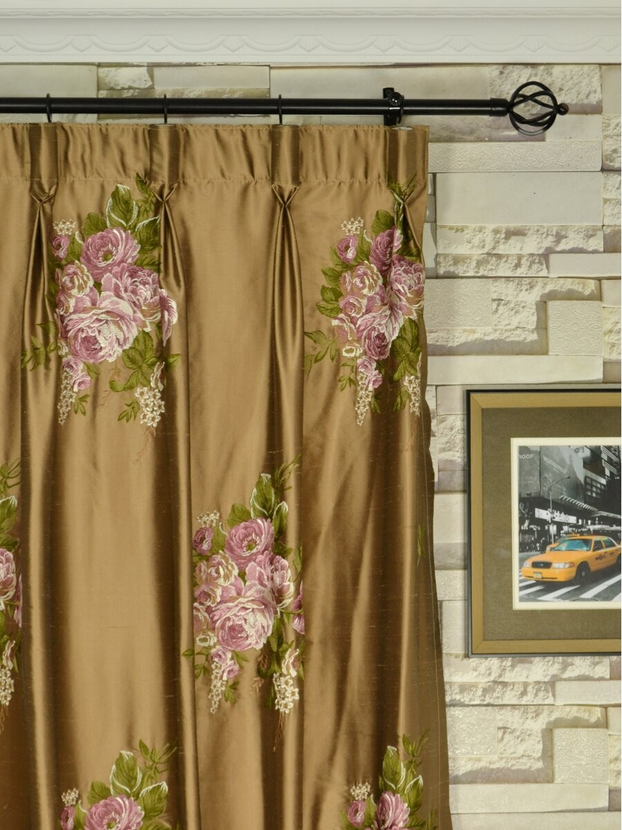 Rainbow Embroidered Camellia Dupioni Custom Made Curtains