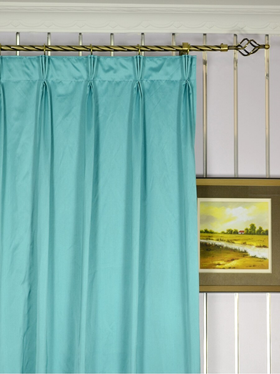 Waterfall Solid Blue Faux Silk Custom Made Curtains