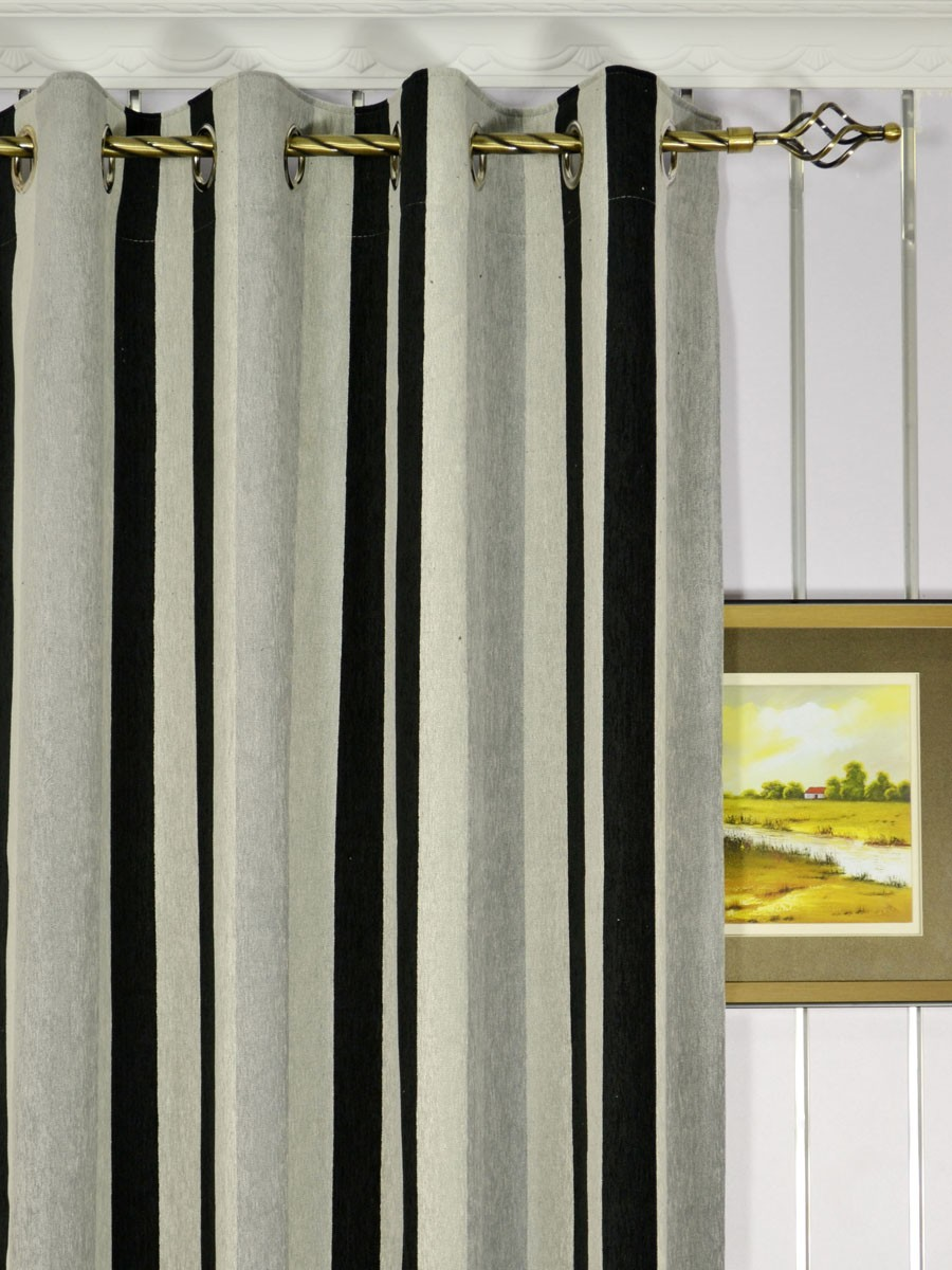 Petrel Vertical Stripe Eyelet Chenille Curtains Custom