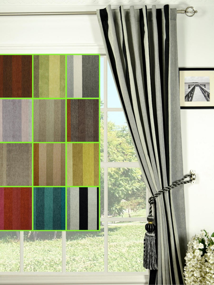 Petrel Vertical Stripe Concealed tab Top Chenille Curtains