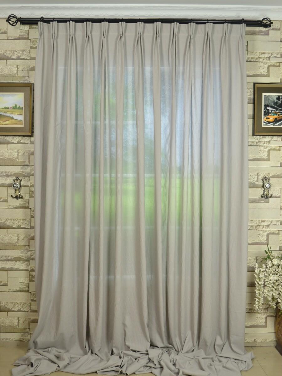 Qyk246sba Eos Linen Gray Black Solid Versatile Pleat Sheer Curtain