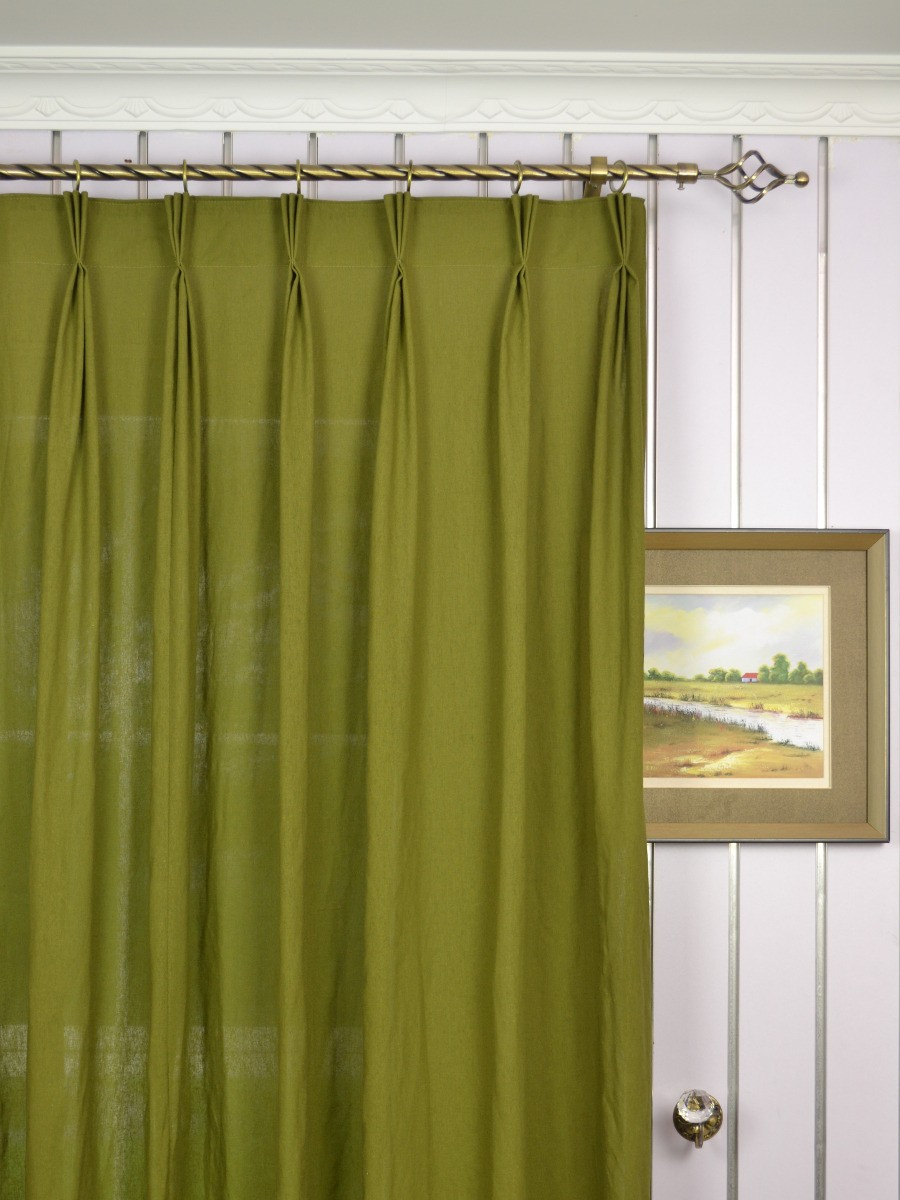 Qyk246sdk Eos Linen Green Blue Solid Triple Pinch Pleat Sheer Curtains Custom Curtains Drapes