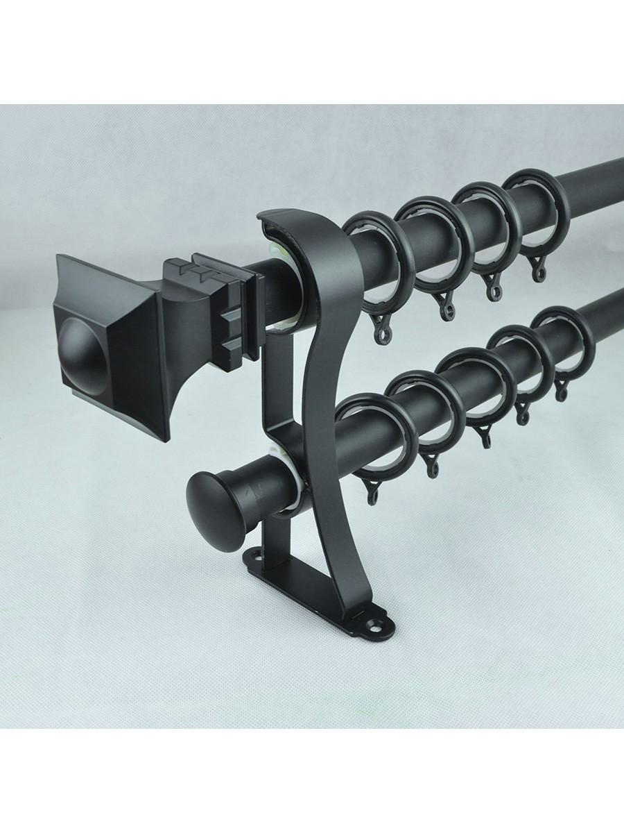 28mm Square Finial Steel Double Curtain Rod Set Custom
