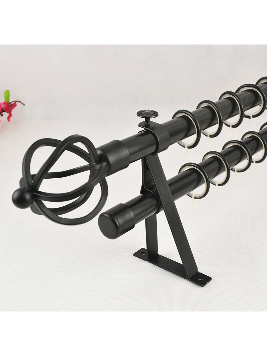 22mm black wrought iron double curtain rod set with spiral globe finial pole curtains 4 - Custom iron curtain rods ...