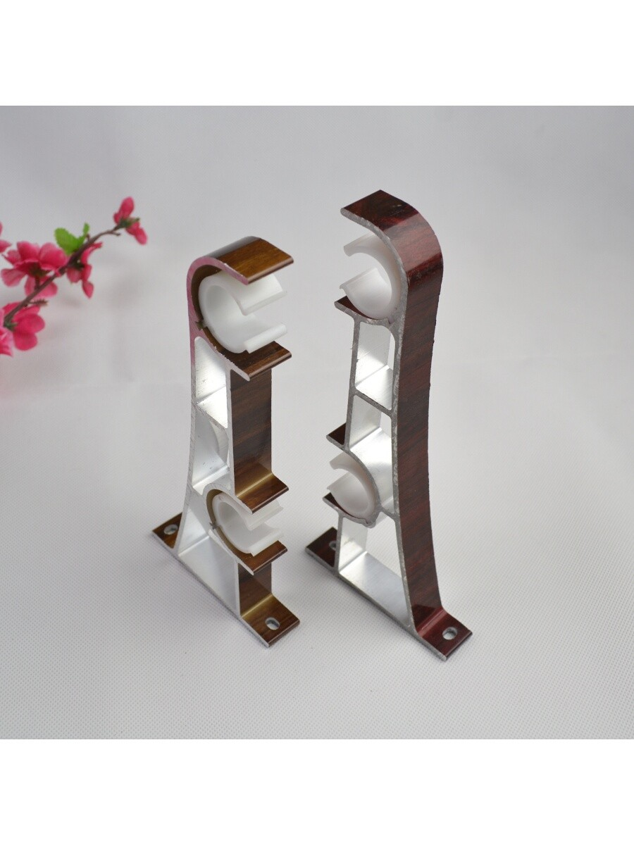 Double curtain rods with curtains - Qyt2221 28mm Super Thick Wood Grain Aluminum Alloy Double Curtain Rod Set