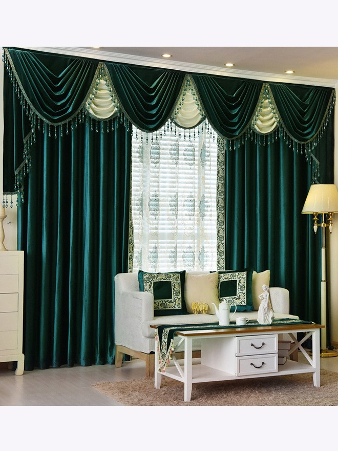 Twynam Green And Blue Waterfall And Swag Valance And