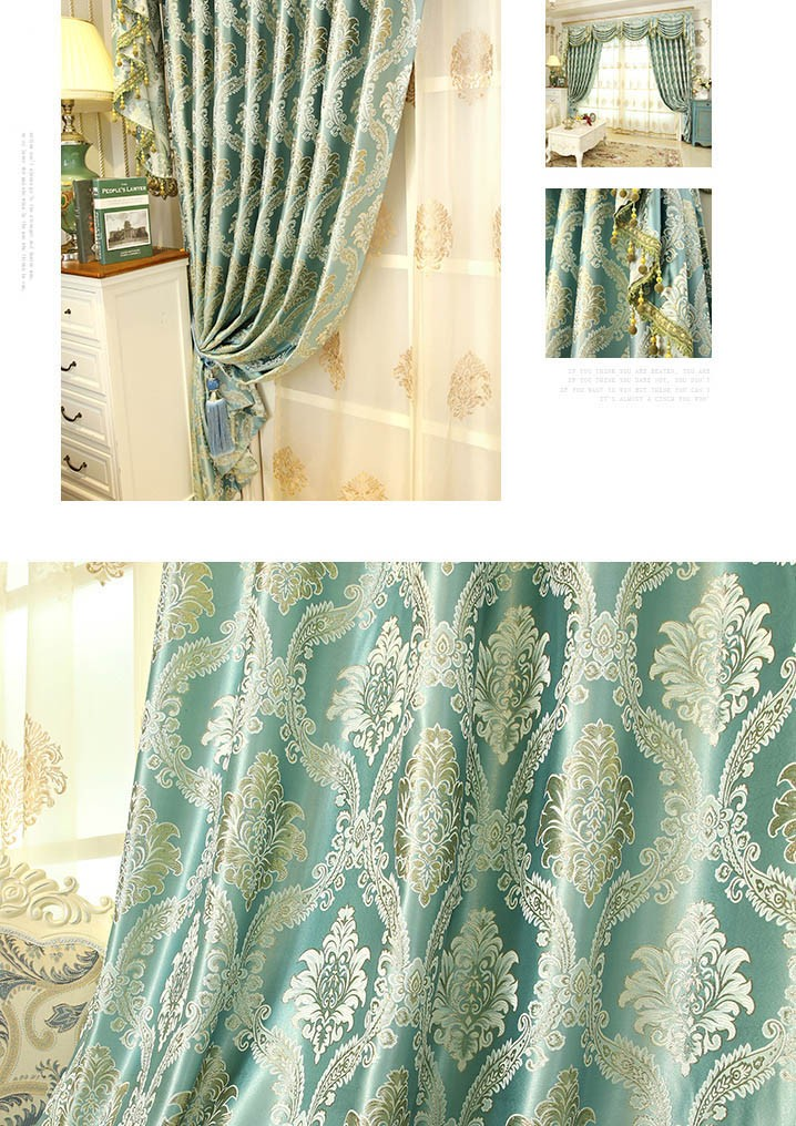 Baltic Jacquard Yellow Blue Coffee Color Floral Waterfall