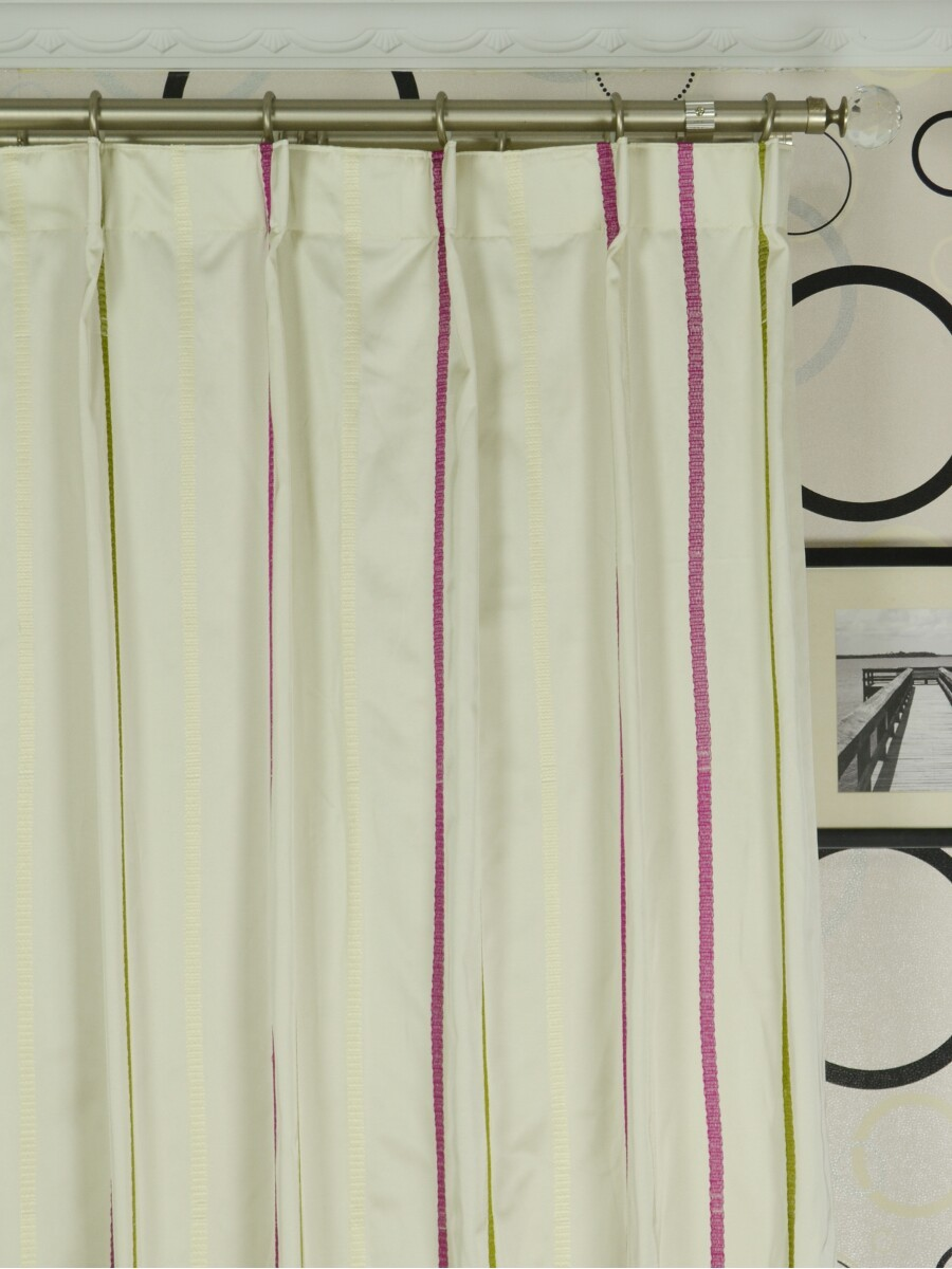 Qyx104a Mirage Embroidered Striped Custom Made Curtains