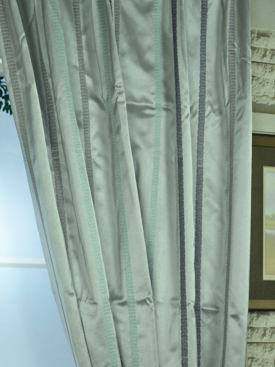 Mirage Embroidered Striped Tab Top Curtain Ready Made