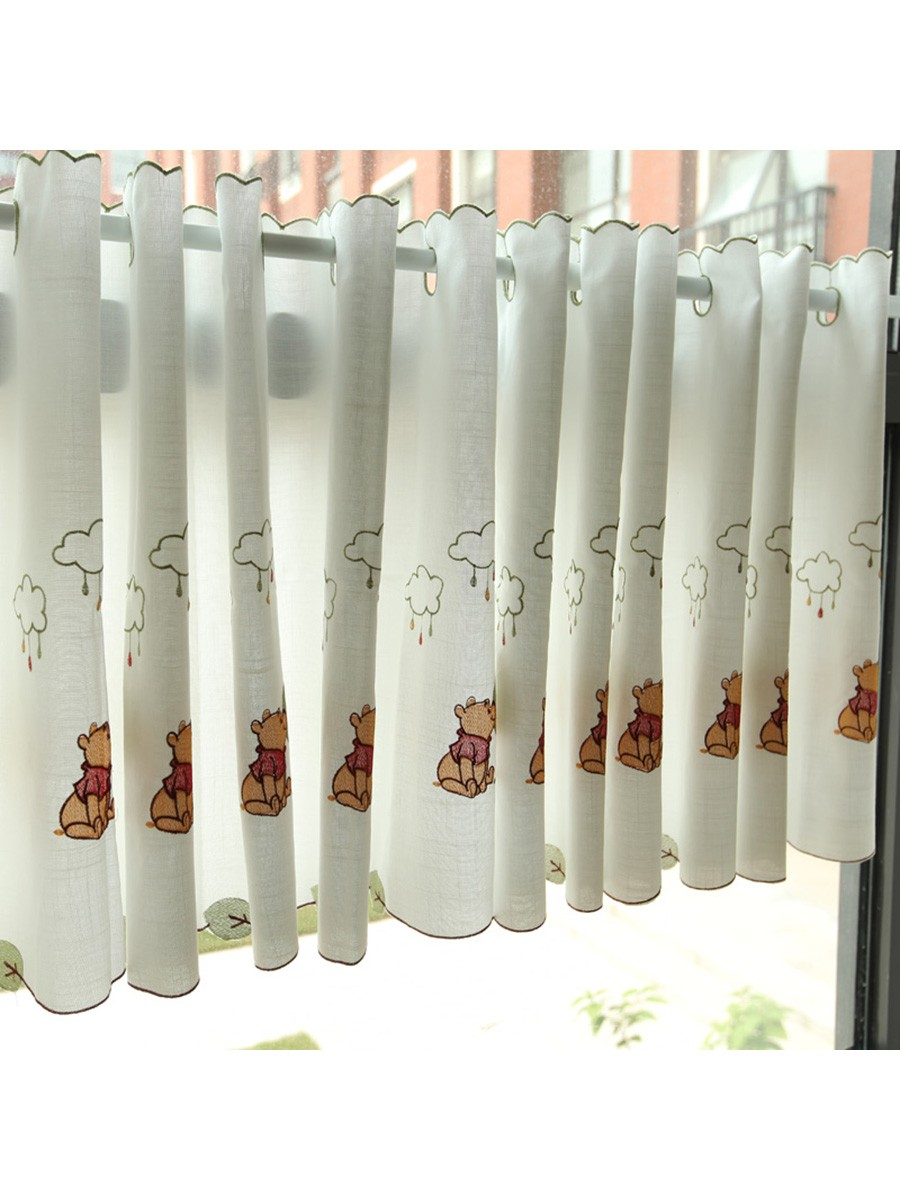 Lind Panda Embroidered Ready Made Eyelet Kitchen Cafe