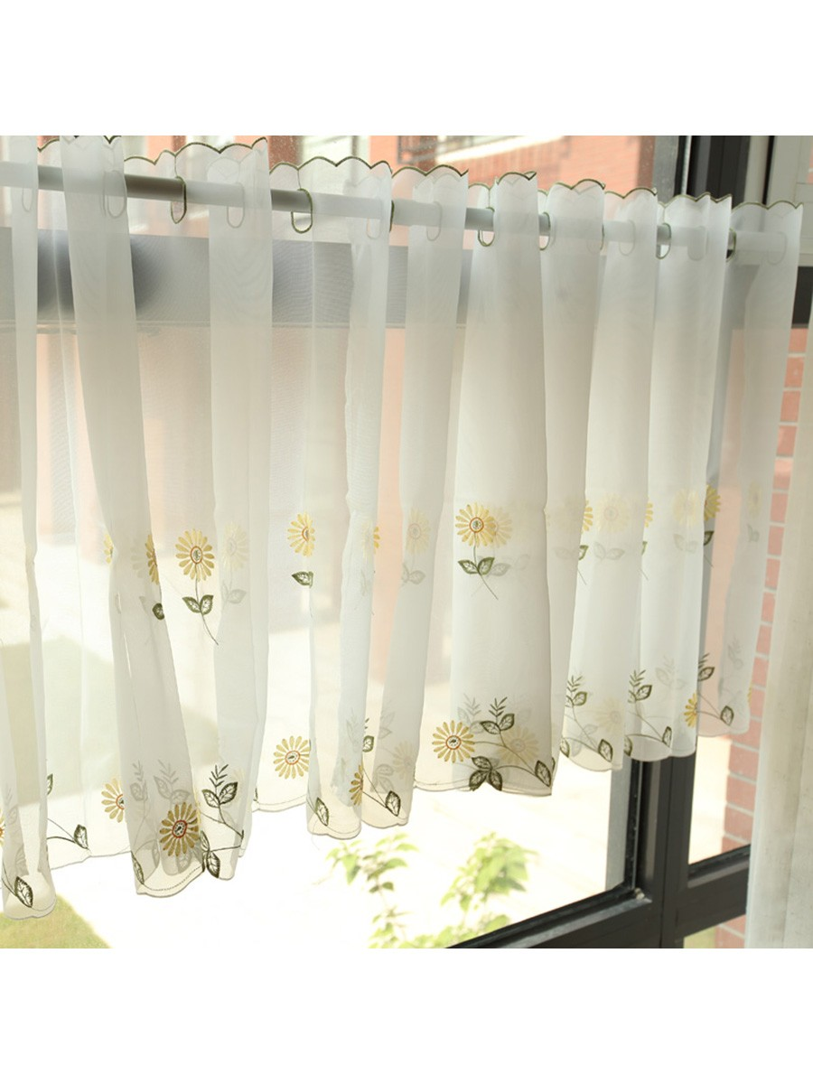 White Eyelet Kitchen Curtains