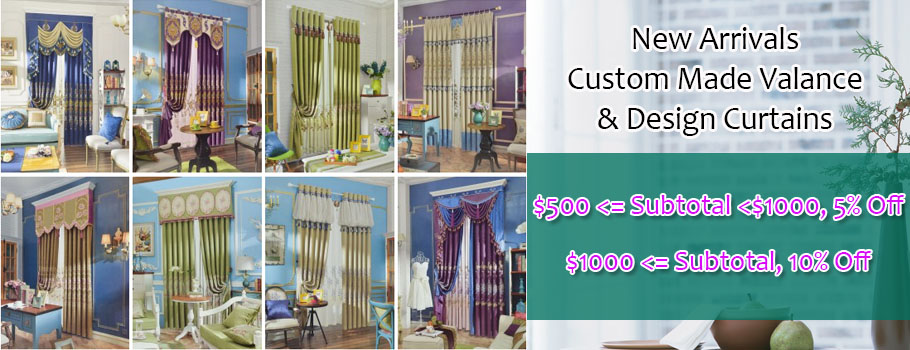 custom made valance and design curtain discount